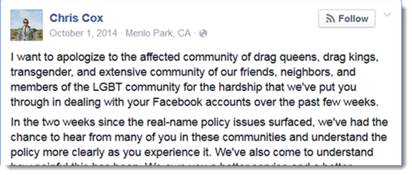 Open Letter to Chris Cox and Facebook